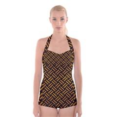 Woven2 Black Marble & Yellow Grunge (r) Boyleg Halter Swimsuit
