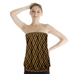 Woven2 Black Marble & Yellow Grunge (r) Strapless Top