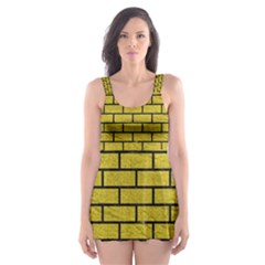 Brick1 Black Marble & Yellow Leather Skater Dress Swimsuit