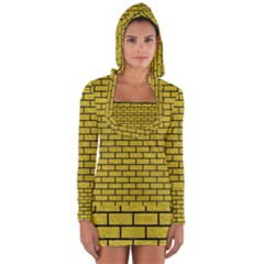 Brick1 Black Marble & Yellow Leather Long Sleeve Hooded T Shirt