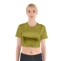 Brick1 Black Marble & Yellow Leather Cotton Crop Top