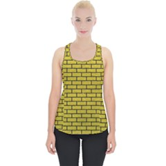 Brick1 Black Marble & Yellow Leather Piece Up Tank Top