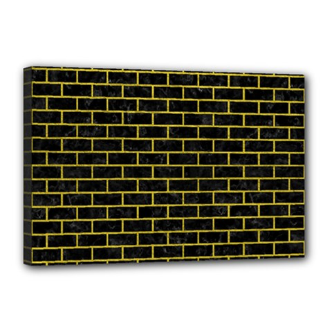 Brick1 Black Marble & Yellow Leather (r) Canvas 18  X 12