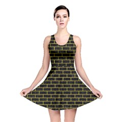 Brick1 Black Marble & Yellow Leather (r) Reversible Skater Dress