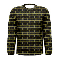 Brick1 Black Marble & Yellow Leather (r) Men s Long Sleeve Tee
