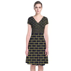 Brick1 Black Marble & Yellow Leather (r) Short Sleeve Front Wrap Dress