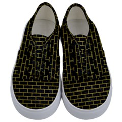 Brick1 Black Marble & Yellow Leather (r) Kids  Classic Low Top Sneakers