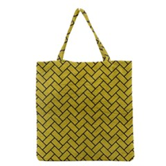 Brick2 Black Marble & Yellow Leather Grocery Tote Bag