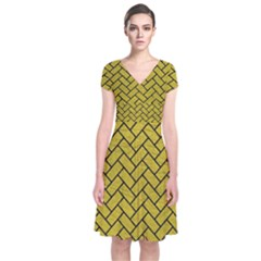 Brick2 Black Marble & Yellow Leather Short Sleeve Front Wrap Dress