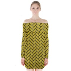 Brick2 Black Marble & Yellow Leather Long Sleeve Off Shoulder Dress