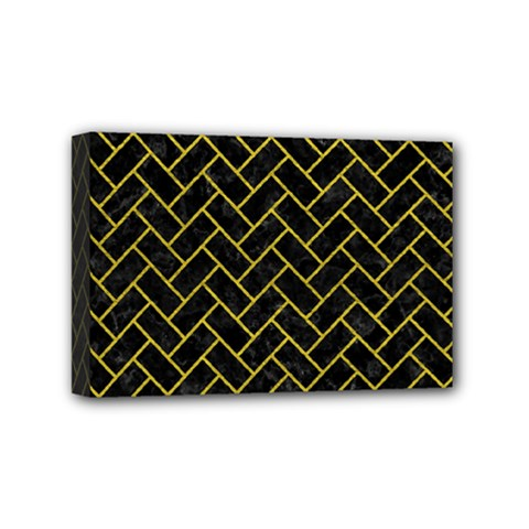 Brick2 Black Marble & Yellow Leather (r) Mini Canvas 6  X 4