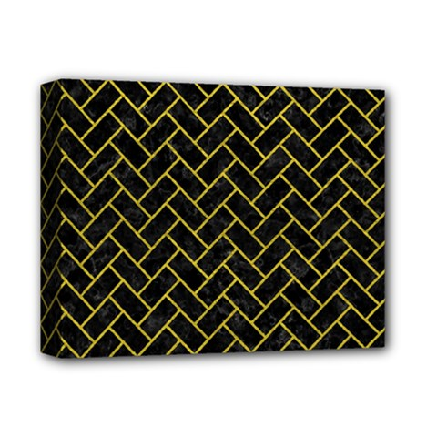 Brick2 Black Marble & Yellow Leather (r) Deluxe Canvas 14  X 11