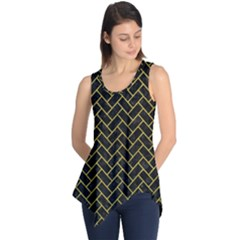 Brick2 Black Marble & Yellow Leather (r) Sleeveless Tunic