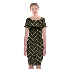Brick2 Black Marble & Yellow Leather (r) Classic Short Sleeve Midi Dress