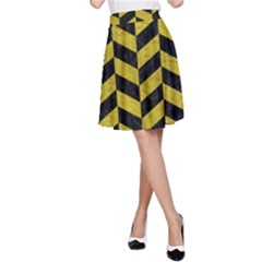 Chevron1 Black Marble & Yellow Leather A Line Skirt