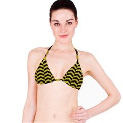Chevron2 Black Marble & Yellow Leather Bikini Top