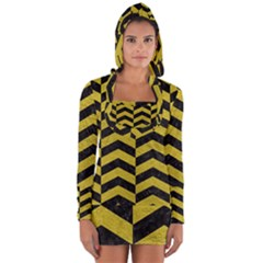 Chevron2 Black Marble & Yellow Leather Long Sleeve Hooded T Shirt