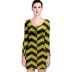 Chevron2 Black Marble & Yellow Leather Long Sleeve Velvet Bodycon Dress