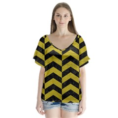 Chevron2 Black Marble & Yellow Leather V Neck Flutter Sleeve Top