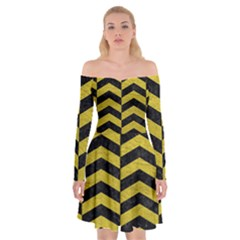 Chevron2 Black Marble & Yellow Leather Off Shoulder Skater Dress