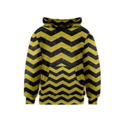 Chevron3 Black Marble & Yellow Leather Kids  Pullover Hoodie