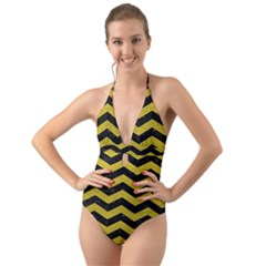 Chevron3 Black Marble & Yellow Leather Halter Cut Out One Piece Swimsuit