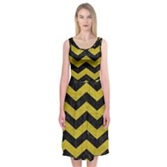 Chevron3 Black Marble & Yellow Leather Midi Sleeveless Dress