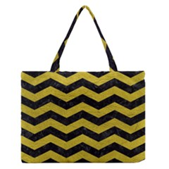 Chevron3 Black Marble & Yellow Leather Zipper Medium Tote Bag