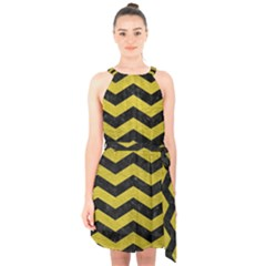 Chevron3 Black Marble & Yellow Leather Halter Collar Waist Tie Chiffon Dress