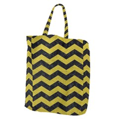 Chevron3 Black Marble & Yellow Leather Giant Grocery Zipper Tote