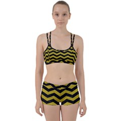 Chevron3 Black Marble & Yellow Leather Women s Sports Set