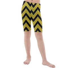 Chevron9 Black Marble & Yellow Leather Kids  Mid Length Swim Shorts