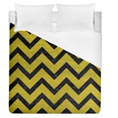 Chevron9 Black Marble & Yellow Leather Duvet Cover (queen Size)