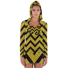 Chevron9 Black Marble & Yellow Leather Long Sleeve Hooded T Shirt