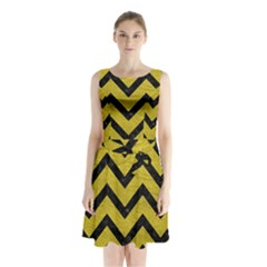 Chevron9 Black Marble & Yellow Leather Sleeveless Waist Tie Chiffon Dress
