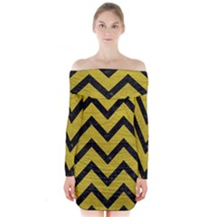 Chevron9 Black Marble & Yellow Leather Long Sleeve Off Shoulder Dress