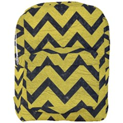 Chevron9 Black Marble & Yellow Leather Full Print Backpack