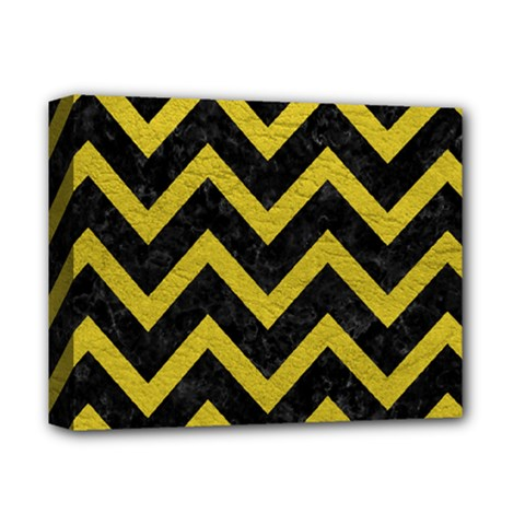 Chevron9 Black Marble & Yellow Leather (r) Deluxe Canvas 14  X 11