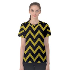 Chevron9 Black Marble & Yellow Leather (r) Women s Cotton Tee