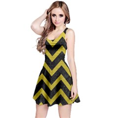 Chevron9 Black Marble & Yellow Leather (r) Reversible Sleeveless Dress
