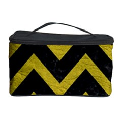 Chevron9 Black Marble & Yellow Leather (r) Cosmetic Storage Case