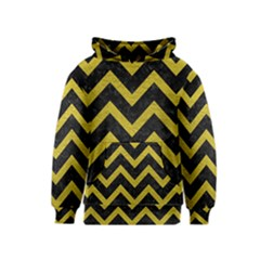 Chevron9 Black Marble & Yellow Leather (r) Kids  Pullover Hoodie