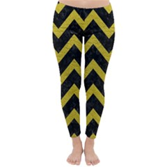 Chevron9 Black Marble & Yellow Leather (r) Classic Winter Leggings