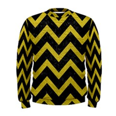 Chevron9 Black Marble & Yellow Leather (r) Men s Sweatshirt