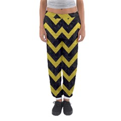 Chevron9 Black Marble & Yellow Leather (r) Women s Jogger Sweatpants