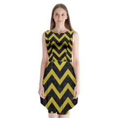Chevron9 Black Marble & Yellow Leather (r) Sleeveless Chiffon Dress