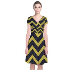 Chevron9 Black Marble & Yellow Leather (r) Short Sleeve Front Wrap Dress