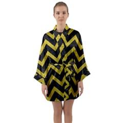 Chevron9 Black Marble & Yellow Leather (r) Long Sleeve Kimono Robe