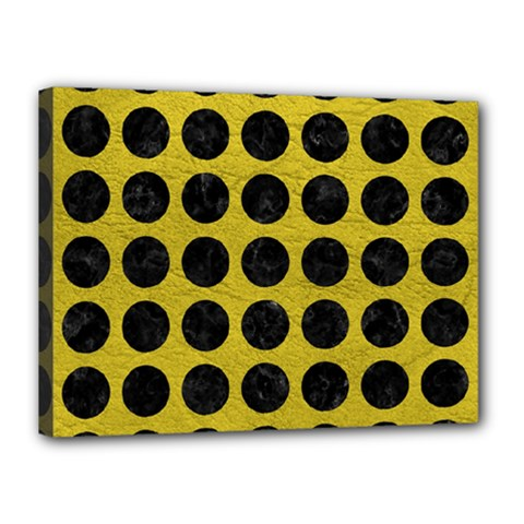 Circles1 Black Marble & Yellow Leather Canvas 16  X 12