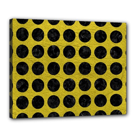 Circles1 Black Marble & Yellow Leather Canvas 20  X 16